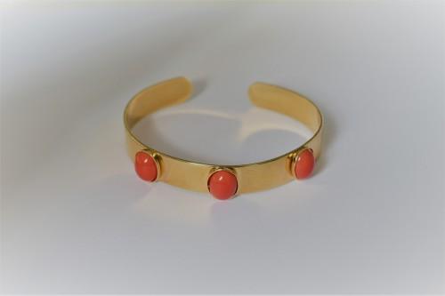 bracelet jonc cabochon doré 3 cabochons 10x8