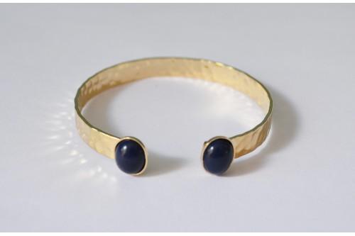 bracelet jonc martelé doré 2 cabochons 10x8