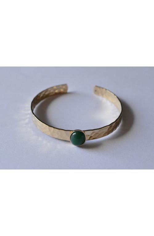 bracelet jonc martelé doré cabochon 10x8