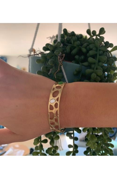 bracelet jonc ajouré doré LORA avec 3 cabochons 6x4
