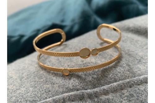 bracelet jonc doré ZOE double fil 3 mini cabochons
