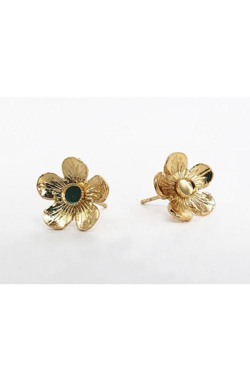 clous d'oreilles dorés fleur Bouton d'or avec cabochon 3 mm