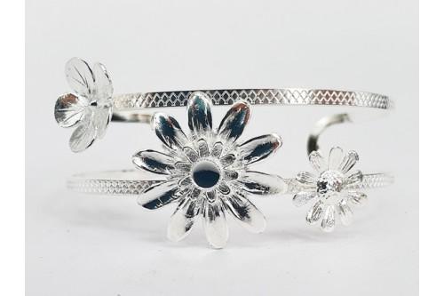 bracelet double fil Flower cabochon 4 mm