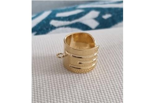 Bague anneau dorée Gil 15 mm