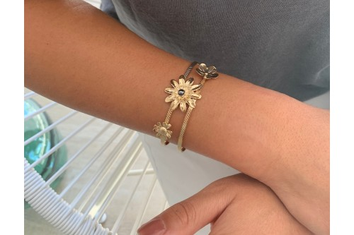 bracelet double fil doré Flower avec cabochon 4 mm
