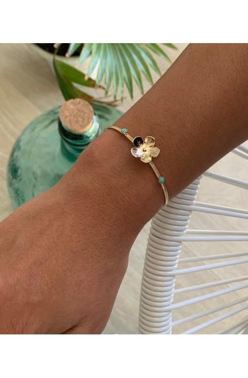 bracelet jonc fin doré bouton d'or 2 cabochons 3 mm