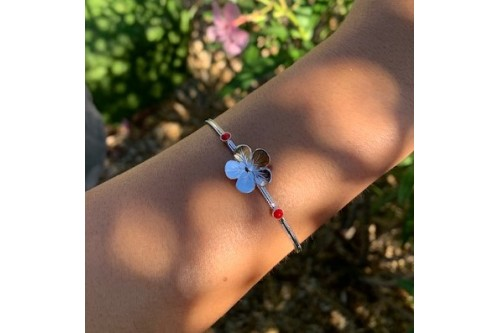 bracelet jonc fin bouton d'or 2 cabochons 3 mm