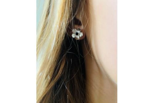 clous d'oreilles fleur Bouton d'or avec cabochon 3 mm